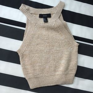 Forever 21 Tan Marled Knit Cropped Cami Top, NWOT